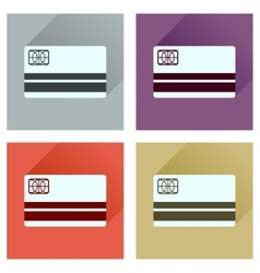 Concept of flat icons with long shadow bank card vector image