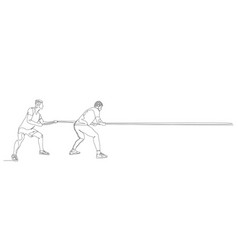 continuous one line two men pull rope tug of vector image