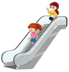 Coronavirus theme with people touching escalators vector