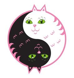 Cute cats yin yang vector image