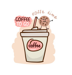 Cute coffee cup with fun cookie vector