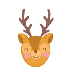 Cute deer face cartoon character on white vector