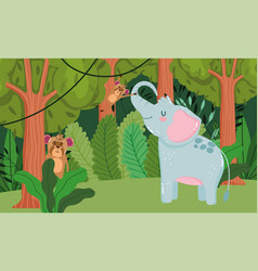 cute elephant and monkeys animal grass forest vector image