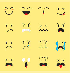 Cute expression emoji on yellow background vector