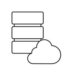 database server cloud storage white background vector image