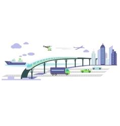 Development transport infrastructure icon flat vector