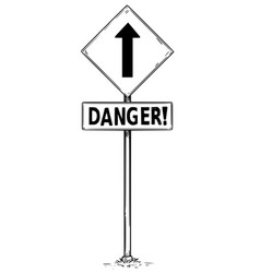 Drawing of one way arrow traffic sign with danger vector