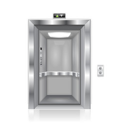 elevator doors metal open doors with interior vector image