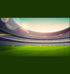 Empty football stadium field view sunset flat vector