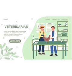 Farmer in a hat watches as a veterinarian examines vector