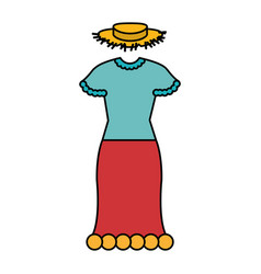 Female typical farmer costume icon vector