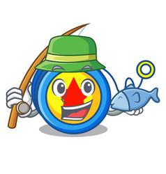 Fishing yoyo mascot cartoon style vector