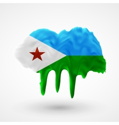 Flag of Djibouti painted colors vector