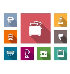 Flat home appliances icons vector