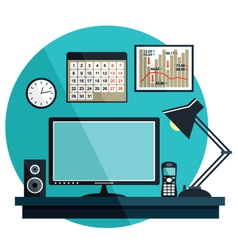 Flat with office things vector