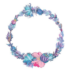 Floral frame in indigo and pink vector
