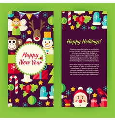flyer template flat happy new year objects and vector image