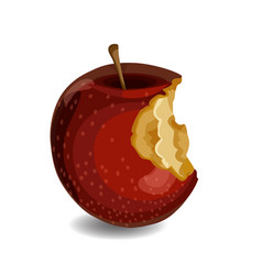 fresh and tasty red apple with bites isolated on vector image