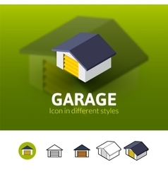 Garage icon in different style vector