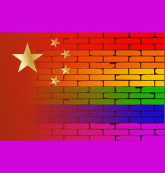 Gay rainbow wall chinese flag vector