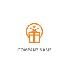 gift box star logo vector image