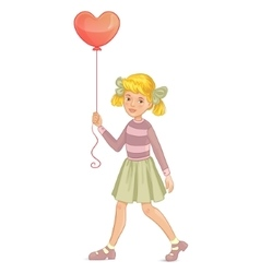 Girl with balloon in shape of heart in hand vector