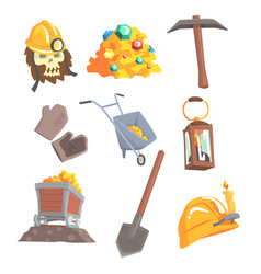 gold mining set for label design mining vector image
