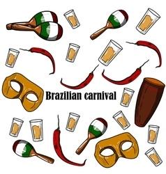 Hand drawn Brazilian Carnival element vector image