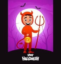 happy halloween cartoon character costume devil vector image