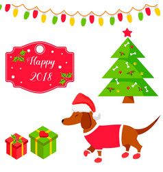 Holiday dachshund and christmas scene vector