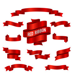 holiday red glossy ribbon banners set for vector image