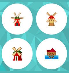 Icon flat energy set of wind energy ecology vector
