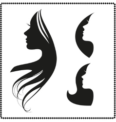 Icon silhouette of a girl with long hair vector