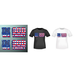 in god we trust stamp and t shirt mockup vector image