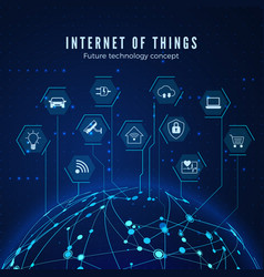 internet things iot concept global network vector image