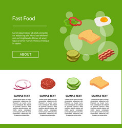 isometric burger banner for vector image