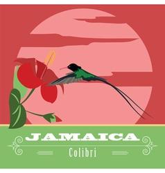 Jamaica landmarks Retro styled image vector