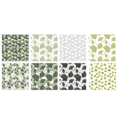 japanese patterns collection with gingko biloba vector image