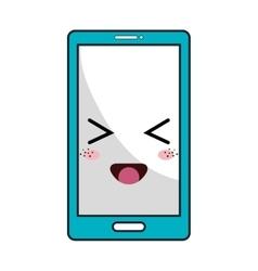 kawaii cartoon smartphone vector image
