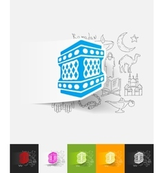 lantern paper sticker with hand drawn elements vector image