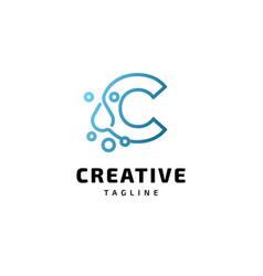 letter c alphabet water logo design vector image