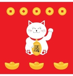 Lucky cat holding golden coin Japanese Maneki vector