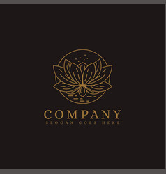 luxury lineart lotus flower logo icon template vector image