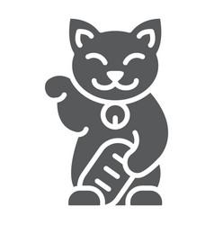 Maneki neko glyph icon asian and animal japanese vector