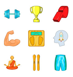 meditation icons set cartoon style vector image