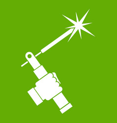 Mig welding torch in hand icon green vector