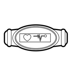 Mobile heart rate wrist monitor icon image vector