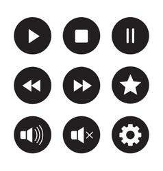 Multimedia black icons set vector image