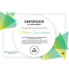Official white certificate with green triangle vector