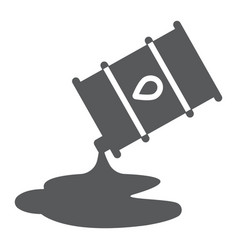 Oil spill glyph icon fuel and storage oil barrel vector